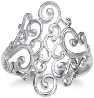 925 Sterling Silver Spiral Filigree Swirl Polish Finished Band Ring